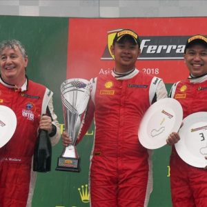 Race winner Danindro Ariondito (INA), James Weiland (USA) and Renaldi Hutasoit (INA) celebrate on the podium with the trophies  at Ferrari Challenge Asia Pacific, Rd1, Melbourne, Australia, 21-25 March 2018.